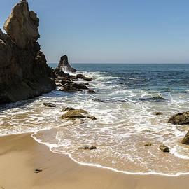 Lacy Sea Foam and Jagged Rocks - Corona Del Mar Beach Orange County California by Georgia Mizuleva