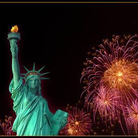 Lady Liberty with Fireworks by Bonnie Follett