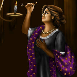 Lady with candle by Anjali Swami
