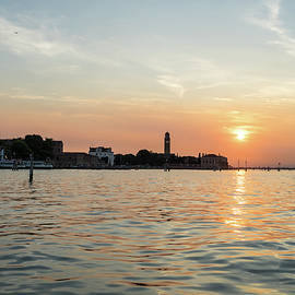Lagoon Sailing in Venice Italy - Silky Sunset Seagulls and Signature Bricole by Georgia Mizuleva