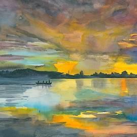 Lake and Boat Sunset #2 by Hiroko Stumpf
