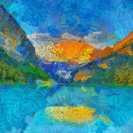 Lake Louise Sunrise Colored Reflection by Dan Sproul