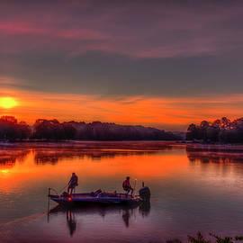 Lake Oconee GA Red Dawn Sunrise Reflections Granite Shoals Bass Fishing Landscape Art by Reid Callaway