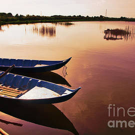 Landscape Lake Vietnam Boats Tranquil Relax by Chuck Kuhn