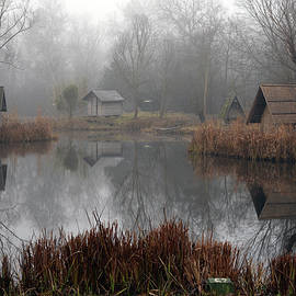 Landscape of a beautiful fishing lake. Winter morning, a mist on the lake, photo series 11. by Akos Horvath