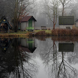 Landscape of a beautiful fishing lake. Winter morning, a mist on the lake, photo series 12. by Akos Horvath