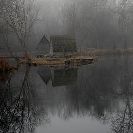 Landscape of a beautiful fishing lake. Winter morning, a mist on the lake, photo series 19. by Akos Horvath Decor