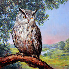 Landscape with an owl by Leonid Polotsky