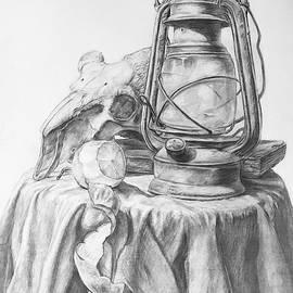 Lantern Orange Goat Skull Still Life  by Lavender Liu