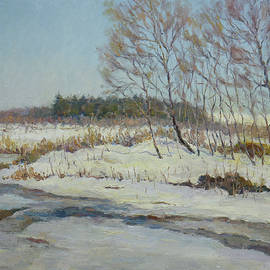 Last Days Of Winter. Original Sunny Oil Painting by Nikolay Dmitriev