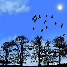 Late Afternoon Flight Blue Pane 6 by David Dehner