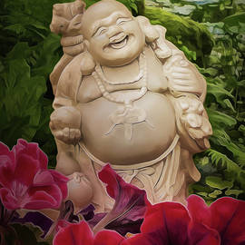 Laughing Buddha in the Garden by Elena Francis