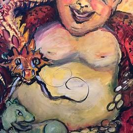 Laughing Buddha,Dragon, Pixiu and Coronavirus by Susan Brown    Slizys art signature name