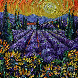 LAVENDER AND SUNFLOWERS OF PROVENCE commissioned palette knife oil painting Mona Edulesco by Mona Edulesco