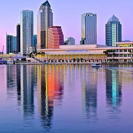 Lavender Tampa Skyline by Chicago Skyline Art