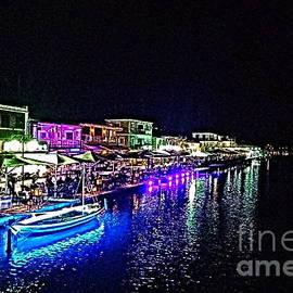 Lefkada waterfront by night, paint effect by Paul Boizot