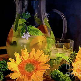 Lemonade, Sunflowers and Pompon Buttons by Diana Mary Sharpton
