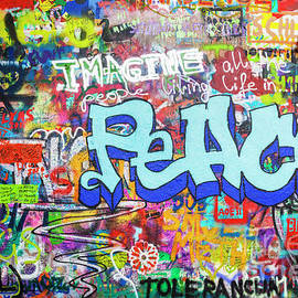 Lennon wall graffiti, Prague by Neale And Judith Clark
