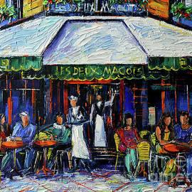 LES DEUX MAGOTS CAFE PARIS commissioned oil painting Mona Edulesco by Mona Edulesco