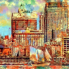Liberty Park, Jersey City, New Jersey view of NYC skyline by Geraldine Scull
