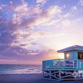 Lifeguard Stand Capturing the Sun, Venice Beach, Florida by Liesl Walsh