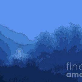 Light in the blue fog, engraving effect 1 by Paul Boizot