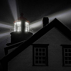 Lighthouse In Fog at Quoddy Head by Marty Saccone