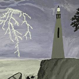 Lightning by lighthouse by Nandini Suresh