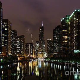 Lightning Strike Over Chicago River by Jennifer White
