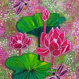 Lilies and Dragonflies by Trudee Hunter