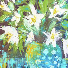 Lilies in Teal Polka Dots by Joanne Herrmann