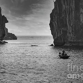 Limestone Islands Ha Long Bay Vietnam BW by Chuck Kuhn