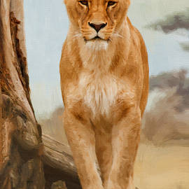 Lioness by Tree - DWP1278712 by Dean Wittle