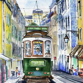 Lisbon Vintage Green Tram Painting by Dora Hathazi Mendes