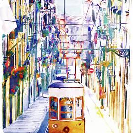 Lisbon Watercolor Cityscape by Marian Voicu