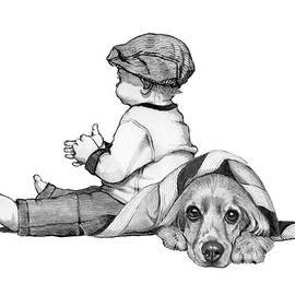Litte Boy and Cocker Spaniel Dog by Joyce Geleynse