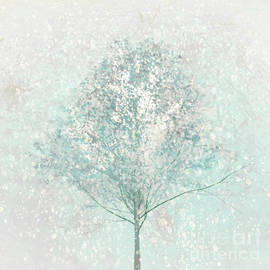 Little Blue Tree in Winter by Hal Halli
