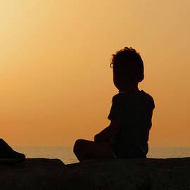 Little Boy Silhouette at Sunset by Alan and Marcia Socolik