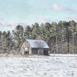 Little Gray Barn In Winter Softness by Toni Abdnour