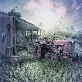 Little Red Tractor in the Blue Fog by Debra and Dave Vanderlaan