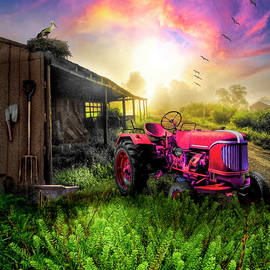 Little Red Tractor in the Fog by Debra and Dave Vanderlaan