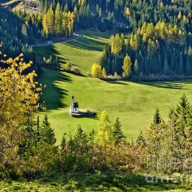 Little White Church Standing Alone At The Meadow by Tatiana Bogracheva