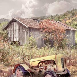 Little Yellow Tractor in Soft Wildflowers by Debra and Dave Vanderlaan