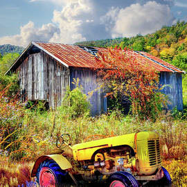 Little Yellow Tractor in Wildflowers by Debra and Dave Vanderlaan
