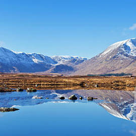 Lochan Nah Achlaise reflections, Rannoch moor, Argyll and Bute, Scotland by Neale And Judith Clark