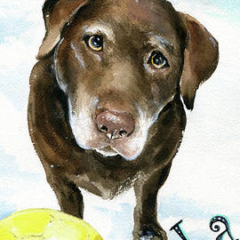 Lola Chocolate Labrador Dog Painting by Dora Hathazi Mendes