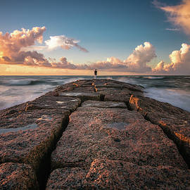 Lonely Galveston Jetty by Trevor Parker