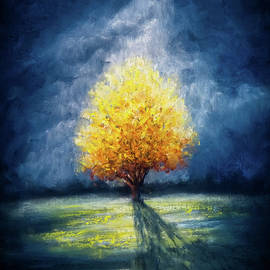 Lonely Yellow tree and stormy sky by Lilia Dalamangas