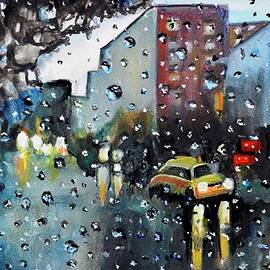 Long Drive in the rain romantic watercolor by Manjiri Kanvinde