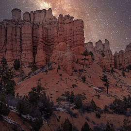 Long exposure Milky Way on Mossy Cave Trail in Bryce Canyon National Park by Rod Gimenez